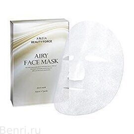 Шелковые маски для лица, Beauty Force Airy Face Mask, AXXZIA, 7 шт